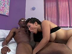 Jessica is just craving for a hard black cock. She looks lovely wearing that red swimsuit, but she looks even hotter, when naked in bed! Click to watch the busty Asian milf sucking her partner's big dick with passion...