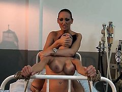 Brunette Mandy Bright with gigantic hooters gets her wet spot eaten to orgasm by Vivien Bianchy in lesbian action