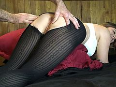 Erin gets rid of her sexy clothes, while her stockings are torn, to offer the picturesque image of her big appetizing ass. See her fingered by a horny partner. The slutty babe is very relaxed and enjoys the idea of getting a hard dick stuffed in her lusty hole. Watch the busty bitch fucked from behind.