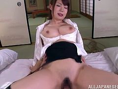 Yuuka's presence in the bedroom makes the atmosphere catch fire! The sexy Japanese with fascinating tits is, without doubt, a hot lady who knows well how to deal with her lusty partner. See her banged out from behind, riding cock or spreading her beautiful legs widely, until she gets her cunt full of cum...