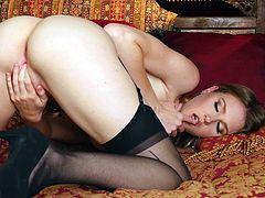 If you are into horny ladies, who are not afraid to express their most intimate desires, click to meet slutty Ashley Lane, a blonde-haired bitch with lovely tits. She is wearing high heels and stockings, which are a big turn on as much, as her crazy ass... Watch her masturbating in front of the camera!