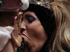 Lovely blond-haired MILF Jessica Drake as a medieval princess gives killer throat job and then gets her fuck hole pounded hard with her nice outfit on. Watch her do it with passion.