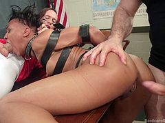 Nikki is helpless in front of the angry gang of guys, who wanna take advantage of her lustiness and fuck her well... They are in a classroom and the ebony attractive bitch is sitting on the teacher's desk. The bitch is persuaded to suck dick, while another man stuffs his cock in her lovely cunt. Have fun!