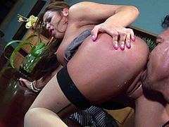 Busty asian mom Mia Lelani in stockings and high heels exposes her big round boobs and shapely ass in this hot scene. She gets her smooth juicy pussy royally fucked by horny as hell man.
