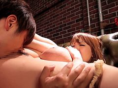If you are a fan of girls with boobs, hurry to check out nasty Hitomi's huge tits. The sexy redhead Japanese babe gets really excited, especially after her crazy ass is rimmed by a horny partner. Click to watch the playful bitch with sensual lips and pierceful regard, sucking his cock with a lusty desire.