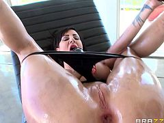 In order to get some of that Danny Ds fat and long johnny, Dollie Darko has to oil up and stretch it up a bit with some homemade sex toys that are just for her rectum