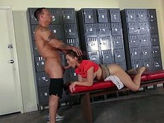 Slutty chick in red Krissy Lynn bares her sexy breasts and gets her cunt tongue fucked in a locker room. Then it comes to cock sucking. She gets throat fucked with no mercy and loves it.