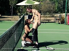 A naughty student, wearing a sexy uniform, is eager to meet with a horny guy on the tennis field. So, slutty Ariana doesn't go straight home after classes. You can find her shamelessly sucking cock out in the open, after her perfect ass is rimmed with passion. See the naked bitch on her knees!