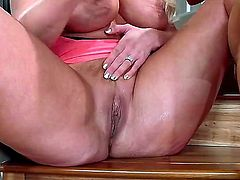 His step-mom Alura Jenson is a hot bodied sporty MILF blonde with monster tits. Flexible woman gets her hairless pussy banged balls deep on stairs. She takes young hard dick as deep as possible.