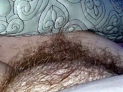 a sneaky feel of her tired hairy pussy mound