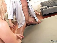 Carolyn Reese tries her hardest to make hot bang buddy Alan Stafford bust a nut with her mouth