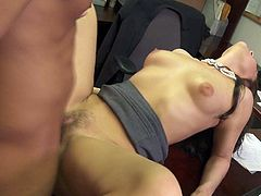Young pretty brunette Gracie Glam with natura boobs parts her legs on the edge of office table and gets her wet bush pounded hard with her mini-skirt on. Shes a cutie who loves hard sex!