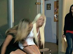Playful long haired dolls in short dresses Charlee Monroe and Stevie Shae pulls down their panties to play with eachy othjers pretty pussy. They give passionate lesbian sex a try