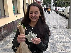 Long haired amateur brunette Lili Devil goes topless in a public place for cash. Guy with camera in hand touches her nice natural boobs. Her lovely tanlined breasts turn him on .