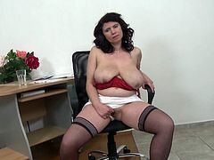 If you're a passionate fan of slutty mature women, welcome to the club! Admire Helenka's gracious and generous body curves and saggy tits, as she removes her sexy red bra... Eventually, the brunette horny lady is going to drop her panties, too. Watch her masturbating with a lusty desire!