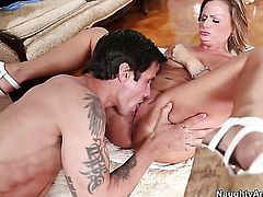 Alan Stafford shoves his dick in completely cute Becca Blossomss pussy hole