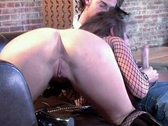 Perfect bodied brunette Jayden Jaymes in nice fishnet outfit exposes her big boobs and round ass in hot porn action with one lucky dude. He licks and fucks her pink snatch with true desire.