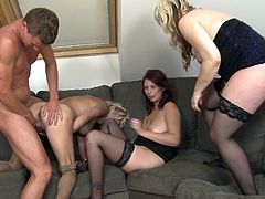 three mature ladies play with dick