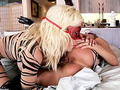 These babes with natural big tits are all dressed up and they are going to have a wild party with each other in this lesbian action packed video. Enjoy yourselves!