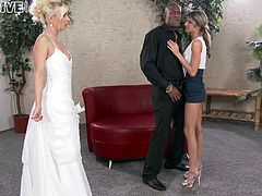 Slutty bride and her skinny friend suck a big black cock
