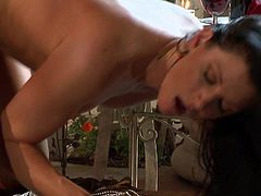 India Summer is a tall girl with long legs and huge bazongas and she is going to spread her legs real wide so that he can smash her up with that big johnny of his