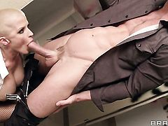Joslyn James with giant hooters has blowjob experience of her lifetime with horny dude Johnny Sins