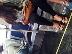 Cute lil asian with see thru yoga pants #2