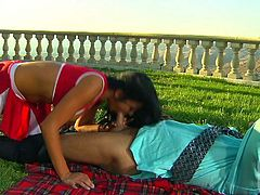 Sex starved dark haired cheerleader Audrey Bitoni in sexy red uniform has hot outdoor sex with older guy. He licks her tight snatch and she eats his sausage before it comes to fucking.