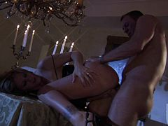 Passionate MILF brunette Julia Ann with huge tits gives suck job and gets her wet snatch banged good and hard. Hot man has a wonderful time banging this hot woman in the candle light.