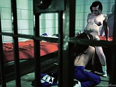Two prison girls need to fulfill their lusty desires and hurry to get undressed... Vanessa is attracted by slutty Rizzo's provocative attitude and colorful tattooed body, so it's not hard to imagine, that she just craves to kiss and caress her cell mate. Enjoy the kinky pussy eating scene!