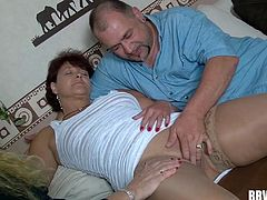 Mouths of mature women suck and slobber on his dick