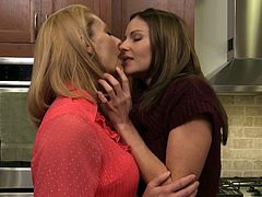 Milf Brenda James brings sexy sweater babe Samantha Ryan to her bed