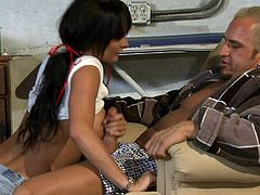 Big titted brunette Alektra Blue with perfect body tires her hardest to turn tattooed guy on to the point of no return. Watch naked hot woman get her twat fucked from behind.