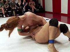 After the final inciting combat, the wrestling arena divides in two groups: the losers and the winners. Click to watch the naked bitches on knees sucking strap on. The atmosphere has never been so hot and, therefore, you shouldn't miss the kinky scenes!