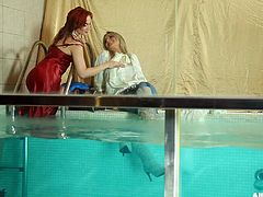 Sexy lesbians get in the pool fully clothed and play around