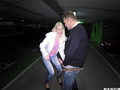 Playful long haired blonde Lynna Nilsson dressed in white gets her hairless pink pussy heavily fucked in public places. She pulls down her jeans and gets her fuck hole stuffed in the dark.
