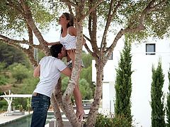 If you are fond of playful bitches, click to watch slutty Gina, climbing on a tree outside. Her partner lifts her like a feather and takes her to the couch. Enjoy the inciting pussy eating scene! This girl is amazingly sensual!