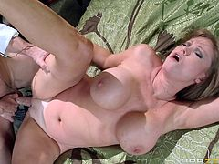 When her partner comes in the bedroom, slutty Darla leaves the book she was reading, to entertain him in the most exciting way possible. First, she gets undressed, as her lovely big tits are squeezed with a lusty desire. Enjoy the hardcore scenes! This crazy bitch is just craving to get her pussy fucked...