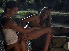 Hot bodied busty bombshell Nicole Sheridan with round tits and long legs gets her tight fuck hole drilled by throbbing cock in the dark of the night. She takes guys love torpedo balls deep.