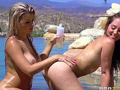 A hot Hispanic babe is chilling on a sunny day with her beautiful companion, Remy. See the naked bitches kissing. The busty blonde loves to oil her friend's crazy ass... Watch the long brown-haired slut eating Adriana's pussy.