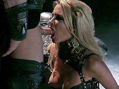 Super sexy blonde babe Jessica Drake in sexy black outfit gets her mouth and neat pussy fucked ferociously in the dark. This bombshell is a sex pro who loves taking it balls deep.