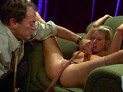 Attractive blonde Carolyn Reese spreads her legs wide open for curious Randy Spears. Hot man plays with her wet pink snatch before she takes his sausage in her mouth. He drills her twat with his stiff dick after oral sex.