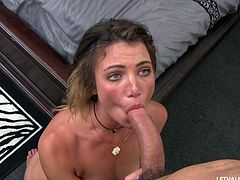 Babe demands dick and he fills her slick pussy with it