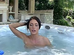Jessica Jaymes is a skinny brunette with some massive, enhanced bazongas and shes going to suck a big, white, johnny near the pool. Shes great at these blowjob movies. She really is