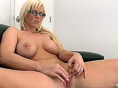 Blonde young milf is fingering herself