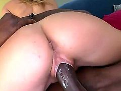 Sexy white girl Chastity Lynn with perfect round ass gets her tight pink pussy stretched by black huge cock.  Bubble butt chick gets banged doggy style and then rides huge black snake cowgirl style.