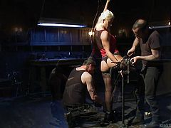 When the guys build a bondage device, they have to make sure it's right not only in sturdiness but comfort. Holly helps the guys by modeling on it and letting them know, where discomfort is coming in, so they can fix it. Comfort is important, although this is about bondage. Subscribe to see more!