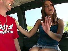 Very nice brunette girl Janessa Price with charming smile shows off her perfect slim legs with her mini-skirt on in this hot Bang Bus update. Curious guy cant wait to fuck that chick.
