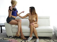 The casting Josie intends to attend is more kinky than she hoped... Click to watch the hot nude teen persuaded to play with a guy's cock. The blonde babe, who is filming, gets also undressed. Click to see naughty Josie, sucking cock like a true pornstar!