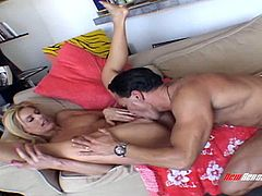 Leggy blond hooker Darryl Hanah rides thick cock in reverse cowgirl pose